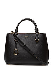 Leather Medium Satchel - BLACK/TRUFFLE