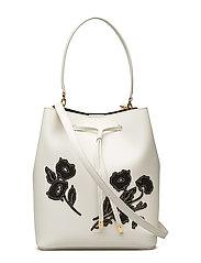 Floral Debby Drawstring Bag - VANILLA W/ BLK FL