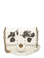 Floral Leather Crossbody Bag - VANILLA W/ BLK FL