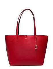 Reversible Faux-Leather Tote - RED/NAVY