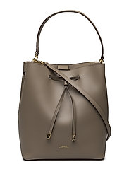 Leather Debby Drawstring Bag - TAUPE/PORCINI