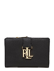Pebbled Leather Compact Wallet - BLACK
