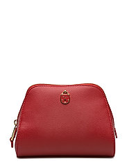 Pebbled Leather Domed Cosmetic Case - RED