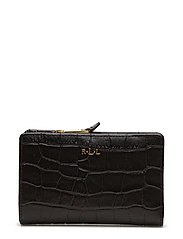 Soft Faux Crocodile Wallet  - BLACK