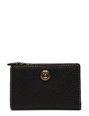 Compact Pebbled Leather Wallet - BLACK/TRUFFLE