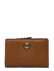 Compact Pebbled Leather Wallet - LAUREN TAN/ORANGE
