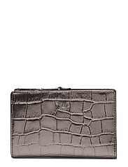 METALLIC FAUX CROC-NEW COMPACT-WLT- - SILVER