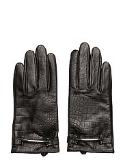 Crocodile-Embossed Gloves - BLACK