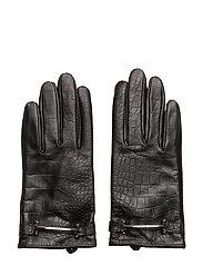Crocodile-Embossed Gloves - BLACK