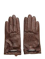 Crocodile-Embossed Gloves - CHOCOLATE