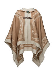 Bridle-Print Hooded Poncho - CAMEL/CREAM