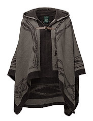 Bridle-Print Hooded Poncho - SILVER/GREY HTHR