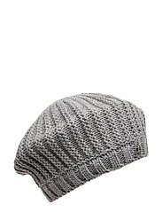 KNIT HAT - MED GREY HTHR