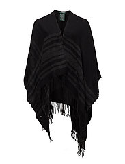 Wool-Blend Cape - BLACK/CHARCOAL