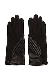 Fleece-Leather Gloves - BLACK