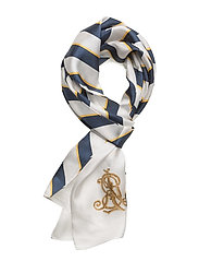 Diagonal-Stripe Silk Scarf - CREAM