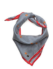 Striped Square Silk Scarf - NAVY