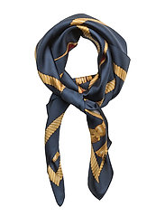 Shield Crest Silk Scarf - NAVY