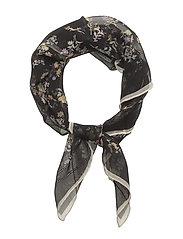 Floral Silk Chiffon Scarf - BLACK