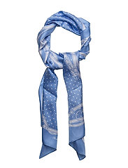 Dotted Bridle-Print Silk Scarf - LIGHT BLUE