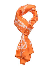 Dotted Bridle-Print Silk Scarf - ORANGE