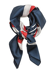 Striped Silk Scarf - NAVY