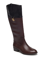 Merrie Burnished Calfskin Boot - DARK BROWN/BLACK