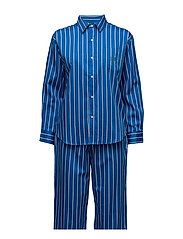 Cotton Sateen Sleep Set - ROYAL BLUE STRI