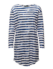 L/S SLEEPTEE - STRIPE BLUE/WHI