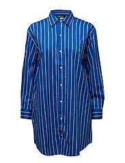 Striped Sateen Sleep Shirt - ROYAL BLUE STRI