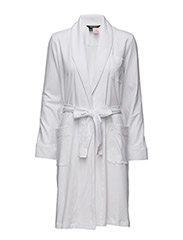 Diamond-Stitched Cotton Robe - WHITE