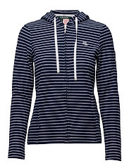 Striped Piqué Hooded Jacket - NAVY/WHITE