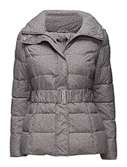 PRINTED BELTED PUFFER - GREY/WHITE