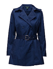 Double-Breasted Trench Coat - STEEL BLUE