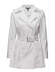 Double-Breasted Trench Coat - WHITE