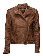 Leather Moto Jacket - DARK WALNUT