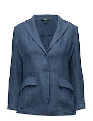 Linen 2-Button Blazer - MED BLUE