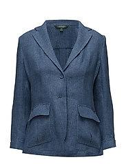 Linen 2-Button Blazer - MED BLUE
