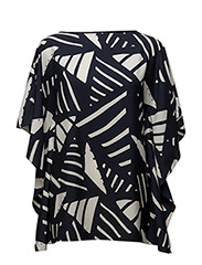 GRAPHIC PRINT PONCHO - NAVY/ANTIQUE IV