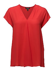 Georgette Short-Sleeve Top - FRESH TOMATO