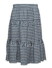 Seersucker Midi Skirt - BLUE/WHITE MULT