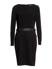 OSVALDO - LONG SLEEVE DRESS - BLACK-BLACK-BLA