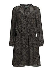 KAMLAI - L/S PEASANT DRESS - BLACK/TAN