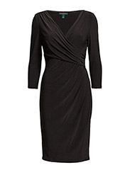 Faux-Wrap Jersey Dress - BLACK