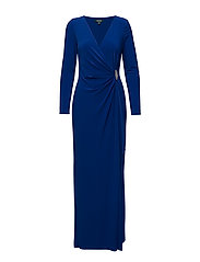 RUCHED JERSEY GOWN - LAZULI