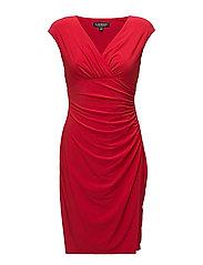 Jersey Cap-Sleeve Dress - ORIENT RED