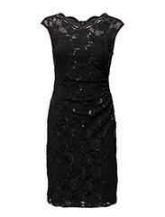 KADEN - CAP SLEEVE DRESS - BLACK/BLACK SEQ