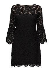 YALIE - 3/4 SLEEVE DRESS - BLACK/WHEAT