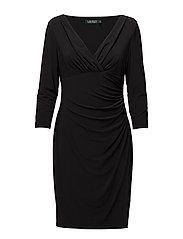 JERSEY SURPLICE DRESS - BLACK