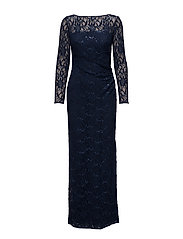 Sequined Lace Gown - DEEP SAPPHIRE/N